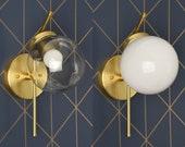 Gold Globe Sconce - Raw Brass - Mid Century - Modern - Industrial - Wall Light - Glass Globe - Bathroom Vanity - UL Listed [ERIE]