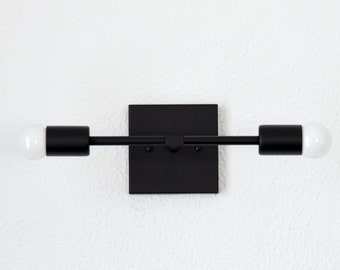 Matte Black Wall Sconce Vanity 2 Bulb Modern Abstract Mid Century Industrial Art Light Bathroom Powder Coated UL Listed