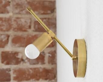 Longmont Wall Sconce [Raw Brass - Mid Century - Modern - Industrial - Single Bulb - Single Light - Abstract - Art Light - UL Listed]
