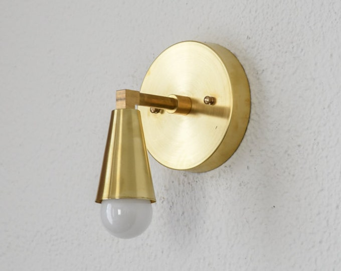 Wall Sconce - Raw Brass - Mid Century - Modern - Industrial - Wall Light - Cone Cover - Bathroom Vanity - UL Listed [BENNETT]