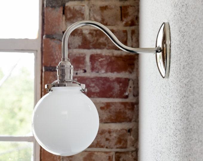 Industrial Globe Sconce - Bathroom Vanity Light - Polished Nickel - Mid Century - Modern - Wall Light - Glass Globe - UL Listed [MALONE]