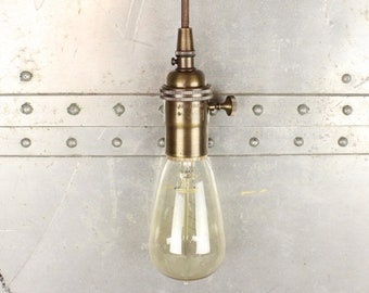 Pendant Light - Antique Brass - Mid Century - Modern - Industrial - Bare Bulb - Edison Bulb - Plug In or Canopy [HARRINGTON]