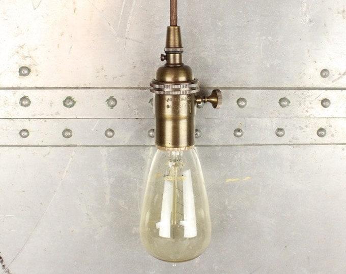 Pendant Light - Antique Brass - Mid Century - Modern - Industrial - Bare Bulb - Edison Bulb - Plug In or Canopy [HARRINGTON]