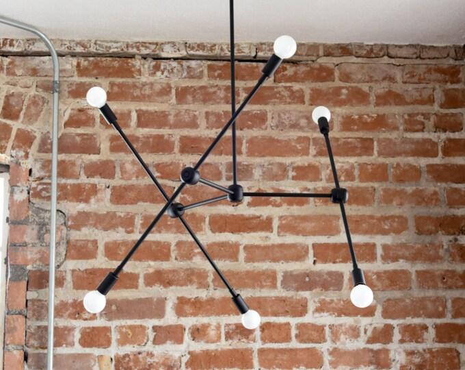 Large Modern Matte Black 6 Arm Chandelier Atom Atomic Sputnik Abstract Industrial UL Listed
