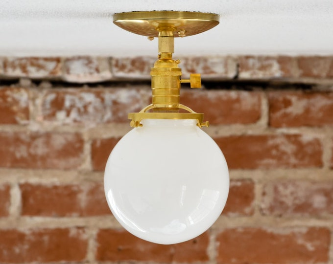 Semi Flush Ceiling Light - Raw Brass - Mid Century - Modern - Industrial - Glass Globe - Ceiling Lighting - UL Listed [HIGHLAND]