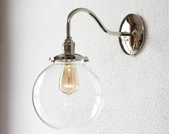 Wall Sconce - Polished Nickel - Mid Century - Modern - Industrial - Clear 8 Inch Glass Globe - Bathroom Vanity - UL Listed [MASCOTTE]