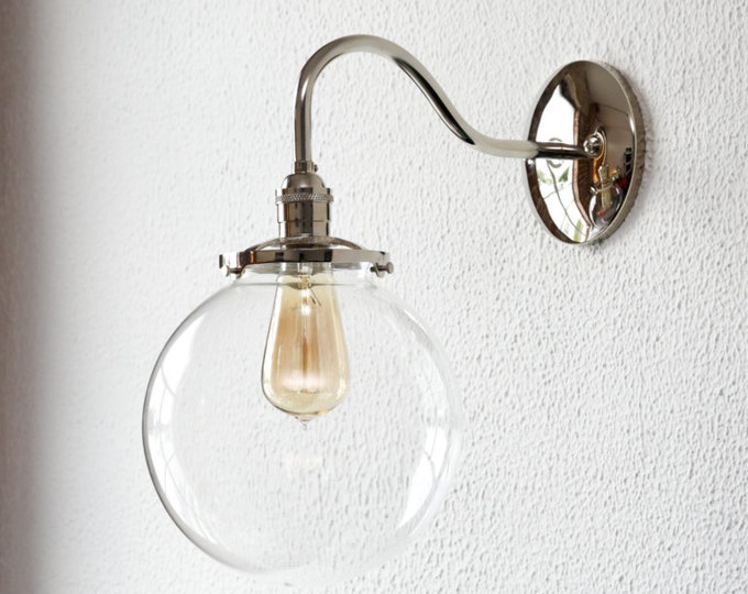 Polished Nickel Curved Arm Wall Sconce With 8in. Clear Glass Globe Vanity Century Industrial Modern Art Light UL Listed