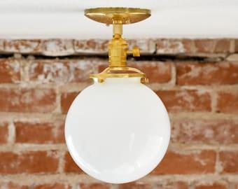 "Semi Flush Solid Raw Brass 8"" White Opal Globe Flush Mount Industrial Modern Ceiling Lighting Polished Nickel Gold UL Listed"