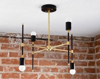 Chandelier - Black & Brass - Mid Century - Industrial - Modern - Abstract - Funky - Atomic - 4 Light - UL Listed [BEIJING]