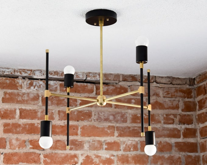 Industrial Chandelier Light - Black & Brass - Mid Century - Modern - Abstract - Funky - Atomic - 4 Light - UL Listed [BEIJING]