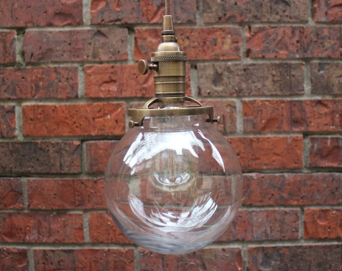 Everson Pendant Light [Antique Brass - Mid Century - Modern - Industrial - Clear Glass Globe - Plug In or Canopy - Cloth Wire]