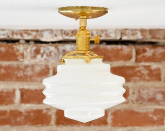Semi Flush Ceiling Light - Raw Brass - Mid Century - Modern - Industrial - Handblown Glass Globe - UL Listed [POMONA]