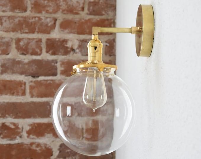 Wall Sconce - Raw Brass - Mid Century - Modern - Industrial - Wall Light - Clear Glass Globe - Bathroom Vanity - UL Listed [CLAYTON]