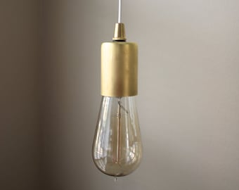 Everett Pendant Light [Raw Brass - Mid Century - Modern - Industrial - Plug In - Bare Bulb - Edison Bulb - Rayon Cloth Covered Wire]