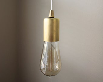 Pendant Light - Raw Brass - Mid Century - Modern - Industrial - Plug In - Bare Bulb - Edison Bulb - Rayon Cloth Covered Wire [EVERETT]