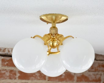 Palmdale Semi Flush [Raw Brass - Mid Century - Modern - Industrial - 3 Globe - 3 Light - Opal - Glass Globe - UL Listed]