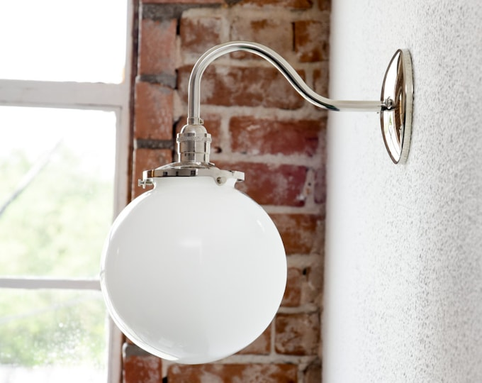 Wall Sconce - Polished Nickel - Mid Century - Modern - Industrial - White 8 Inch Glass Globe - Bathroom Vanity - UL Listed [MASCOTTE]
