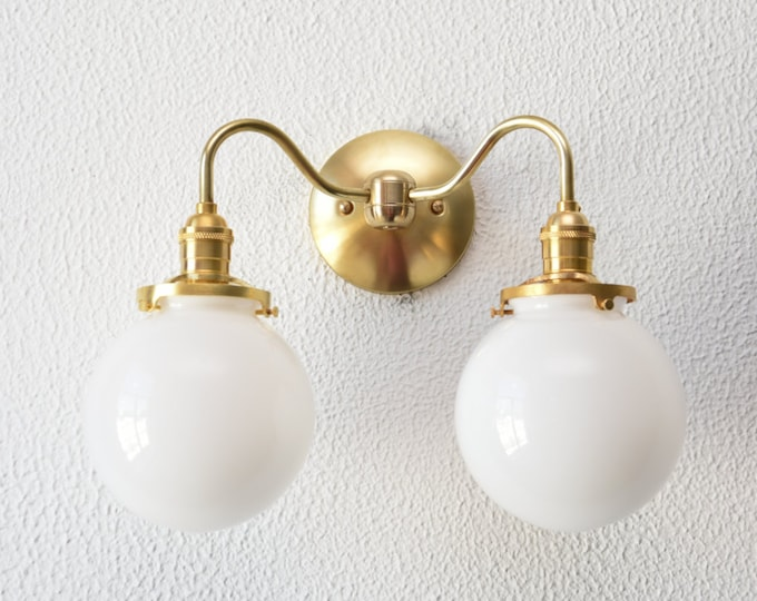 Modern Globe Sconce - Gold Wall Sconce - Mid Century - Industrial - Wall Light - Glass Globe - Bathroom Vanity - UL Listed [PALISADE]