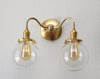 Wall Sconce - Raw Brass - Mid Century - Modern - Industrial - Wall Light - Clear Glass Globe - Bathroom Vanity - UL Listed [PALISADE]