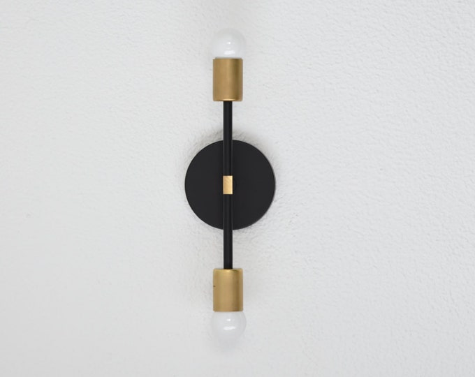 Belen Wall Sconce [Black & Brass - Mid Century - Modern - Industrial - 2 Light - 2 Bulb - Art Light - Vanity - Bathroom - UL Listed]