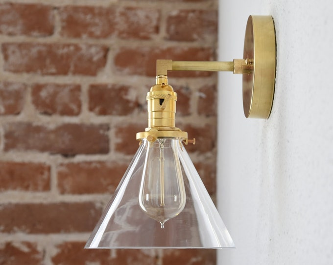 Wall Sconce - Raw Brass - Mid Century - Modern - Industrial - Wall Light - Clear Cone Glass Shade - Bathroom Vanity - UL Listed [HILLIARD]