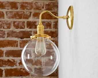 "Gold Brass Wall Sconce Clear 8"" Globe Vanity Century Industrial Modern Art Light UL Listed"