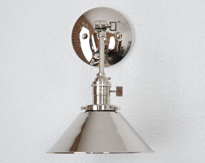 Adjustable Wall Sconce - Modern Wall Light - Polished Nickel - Mid Century - Industrial - Bathroom Vanity [BALDWIN]