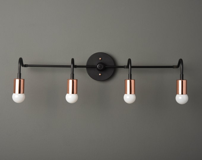 Bathroom Wall Light - Black & Copper - Mid Century - Modern - Industrial - Bathroom Vanity Light - UL Listed [RYE]