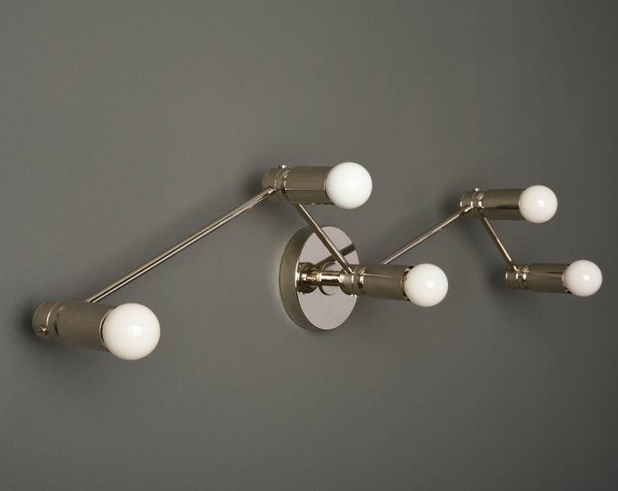 Modern Wall Sconce - Bathroom Vanity Light - Polished Nickel - Mid Century - =Industrial - Constellation - Wall Light - UL Listed [VERONA]