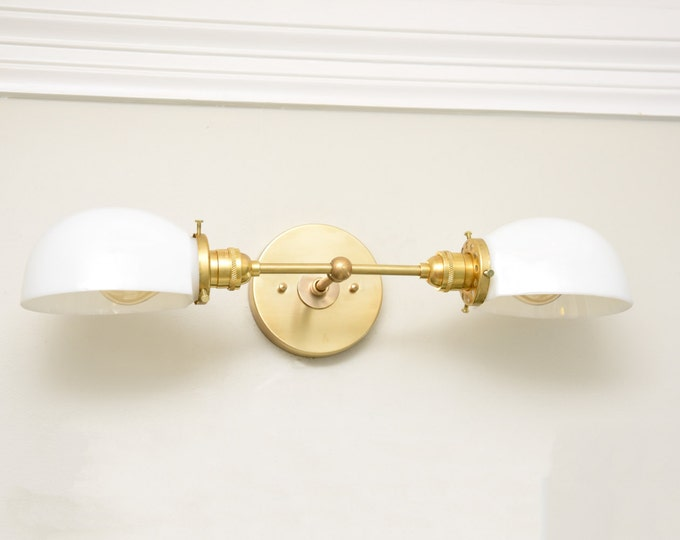Wall Sconce - Raw Brass - Mid Century - Modern - Industrial - Wall Light - Opal Glass Shades - Bathroom Vanity - UL Listed [BARRE]