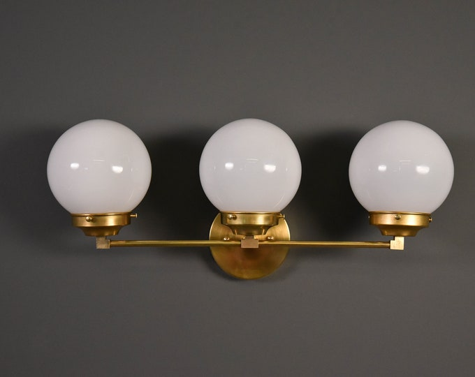 Wall Sconce - Raw Brass - Mid Century - Modern - Industrial - Wall Light - White Glass Globe - Bathroom Vanity - UL Listed [FRISCO]