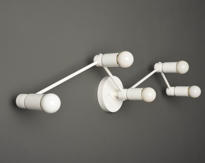 Bathroom Vanity Light - Matte White - Mid Century - Modern - Industrial - Constellation - Wall Light - UL Listed [VERONA]
