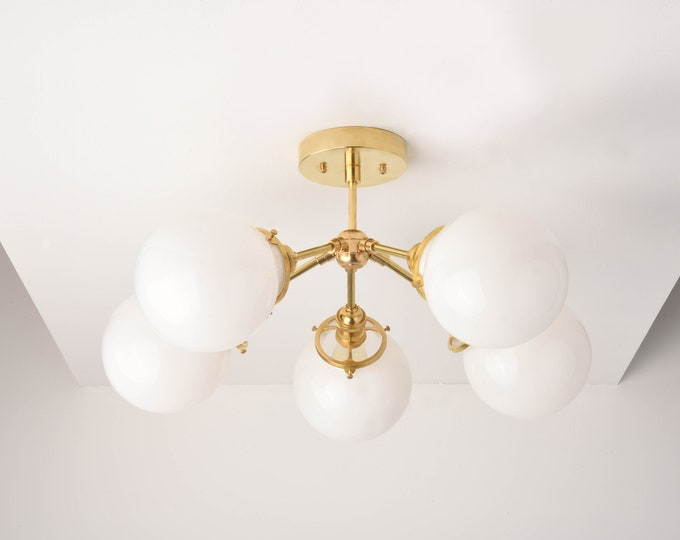 Dallas Chandelier [Raw Brass - Mid Century - Industrial - Modern - 5 Arm - Sputnik - White Globe - Hanging - Large - Lighting]