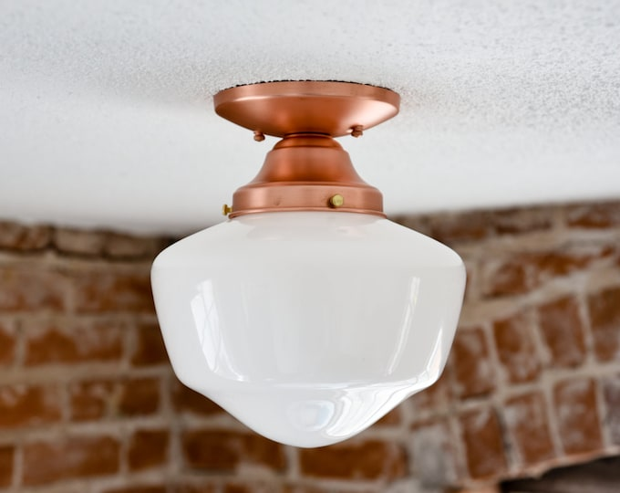 Semi Flush Ceiling Light - Raw Copper - Mid Century - Modern - Farmhouse - Opal Schoolhouse Shade - Ceiling Lighting - UL Listed [PACIFICA]