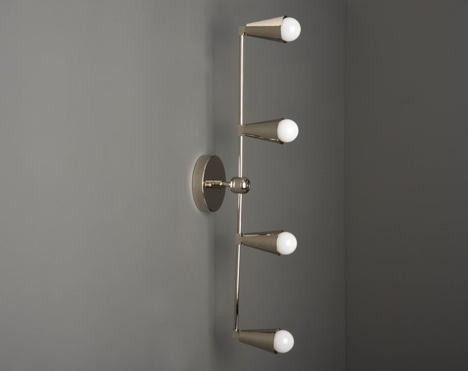 Wall Sconce - Polished Nickel - Mid Century - Modern - Industrial - Vertical Sconce - Wall Light - Bathroom Vanity - UL Listed [REDDICK]