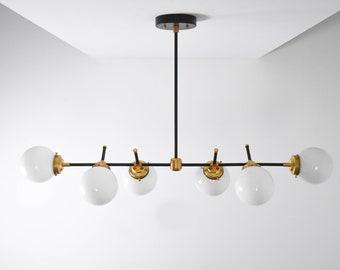 Austin Chandelier [Black & Brass - Mid Century - Industrial - Modern - Candelabra - 6 Light - 5 inch - White Globe - Large - UL Listed]