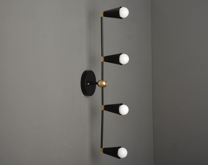 Wall Sconce - Black & Brass - Mid Century - Modern - Industrial - Vertical Sconce - Wall Light - Bathroom Vanity - UL Listed [REDDICK]