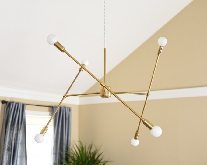 Chandelier - Raw Brass - Mid Century - Industrial - Modern - 3 Arm - Plug In - Canopy - Hanging - Large - Light [MUNICH]