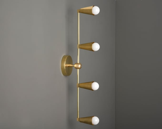 Wall Sconce - Raw Brass - Mid Century - Modern - Industrial - Vertical Sconce - Wall Light - Bathroom Vanity - UL Listed [REDDICK]