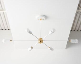 Mid Century Chandelier - Matte White & Brass - Industrial - Modern - Sputnik - Pinwheel - Lighting - Starburst - UL Listed [WASHINGTON]