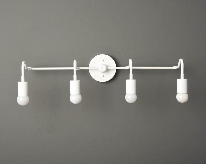 White Mid Century - Bathroom Wall Light - Minimal Fixture - Modern - Industrial - Bathroom Vanity Light - UL Listed [RYE]
