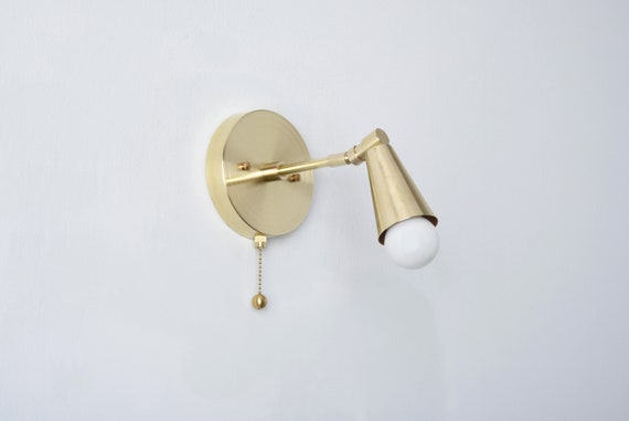 Pull Chain Light Gold Raw Brass Wall Sconce Mid Century Etsy
