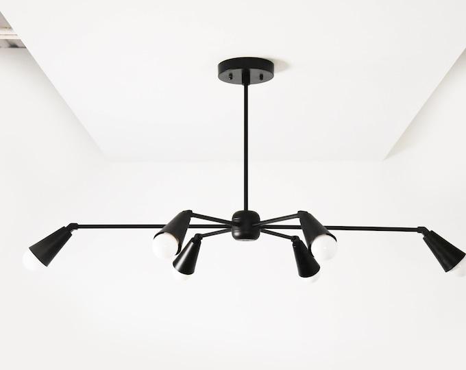 Matte Black Large Modern Starburst Chandelier 6 Arm Pinwheel Bulb Sputnik Mid Century Dining Room Light UL Listed