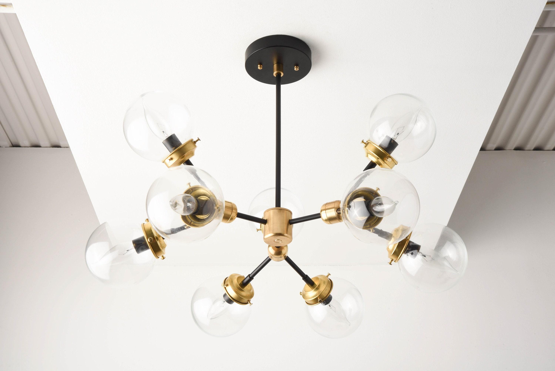 Modern Globe Chandelier Black Amp Gold Sputnik Light Mid