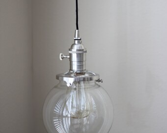 """Pendant Lighting Brushed Satin Nickel - 6"""" Clear Glass Globe - Cloth Wire - Plug In or Ceiling Canopy Mount"""
