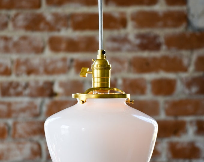 Pendant Lighting Gold Brass - 8 in. White Schoolhouse Glass Globe - Cloth Wire - Ceiling Canopy Mount -  for Bar Island Kitchen