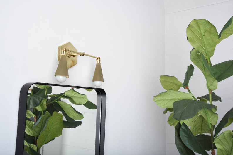 Luce Vanità moderna Nero & Gold Wall Sconce Mid Century 9G88fw2u