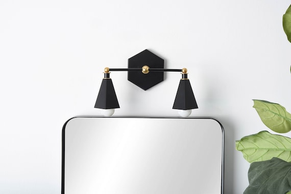 Modern Vanity Light Black Gold Wall Sconce Mid Century Etsy