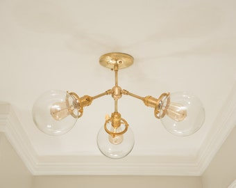 Modern Chandelier Raw Brass 3 Globe Sputnik Mid Century Semi Flush Edison Industrial Hanging Light Lighting Modern