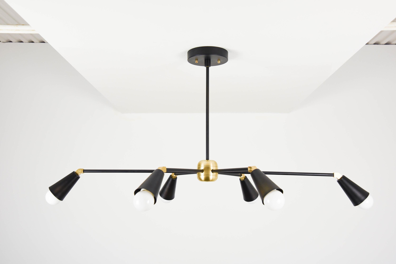 Sputnik chandelier black gold hanging light mid century industrial modern starburst pinwheel ul listed toronto